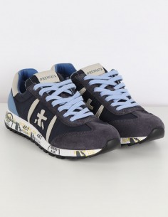 "PREMIATA WHITE ""Lucy"" navy sneakers in nylon and velvet"