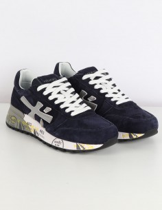 "PREMIATA WHITE ""Mick"" navy sneakers in leather and nylon"