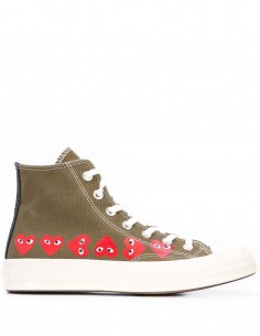 CDG PLAY x CONVERSE khaki high top multi-hearts
