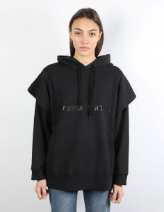 MM6 black hoodie with logo and double sleeves