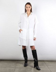 MM6 white oversized shirt-dress with ruffles on back