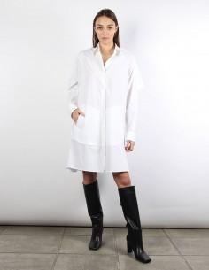 MM6 white oversized shirt-dress with ruffles on back