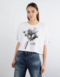 T-shirt blanc cropped imprimé bouquet MM6