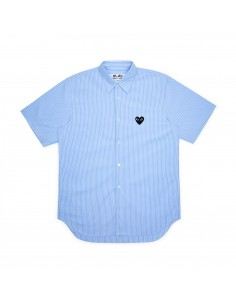 COMME DES GARCONS PLAY blue striped short-sleeved shirt with black heart