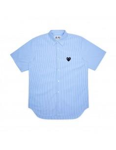 COMME DES GARCONS chemise bleue rayée manches courtes coeur noir