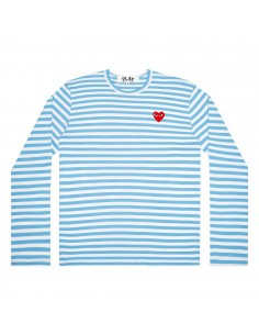 COMME DES GARCONS PLAY blue sailor long sleeves tee with red heart logo