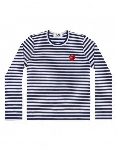 CDG PLAY - navy sailor long sleeves tee with red heart logo