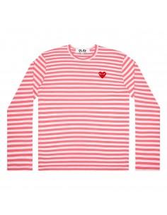 COMME DES GARCONS PLAY marinière rose rayée à coeur rouge