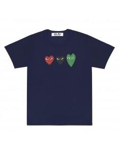 COMME DES GARCONS PLAY - T-shirt bleu trio de coeurs