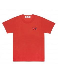 T-shirt rouge double coeur cousu COMME DES GARCONS PLAY