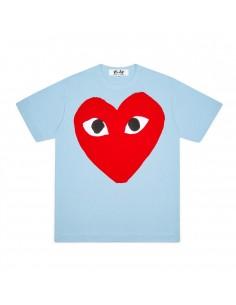 CDG COMME DES GARCONS PLAY - T-shirt bleu imprimé grand coeur
