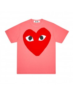 CDG COMME DES GARCONS PLAY - T-shirt rose imprimé grand coeur