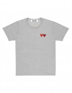 T-shirt gris double coeur cousu COMME DES GARCONS PLAY