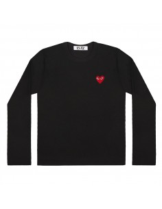 CDG COMME DES GARCONS PLAY - T-shirt noir manches longues à patch logo coeur rouge