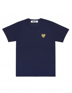 CDG COMME DES GARCONS PLAY - navy tee shirt with golden heart logo