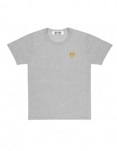 CDG COMME DES GARCONS PLAY - T-shirt gris à patch logo coeur doré