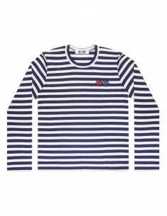 COMME DES GARCONS PLAY navy sailor long sleeves tee with double hearts logo