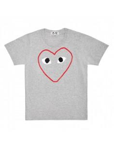 CDG COMME DES GARCONS PLAY - T-shirt gris imprimé grand coeur détouré