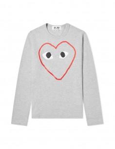 CDG COMME DES GARCONS PLAY - T-shirt gris manches longues imprimé grand coeur détouré