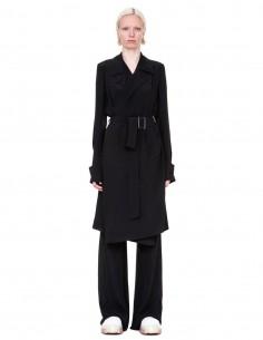 "Trench drapé noir RICK OWENS femme collection ""Tecualt"""