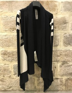 RICK OWENS black cardigan with multicolor geometric forms