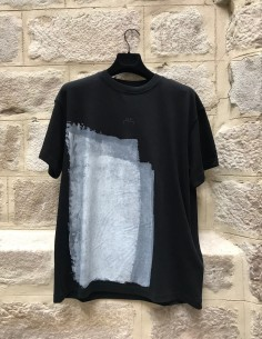 A-COLD-WALL black oversized tee shirt with white paint