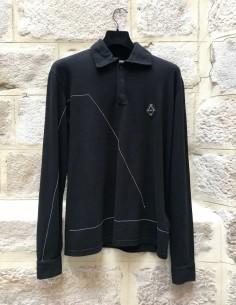Polo noir à surpiqures blanches A-COLD-WALL
