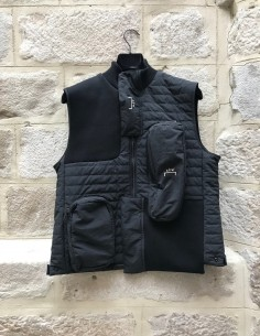 A-COLD-WALL black sleeveless bi-material technic vest with multipockets