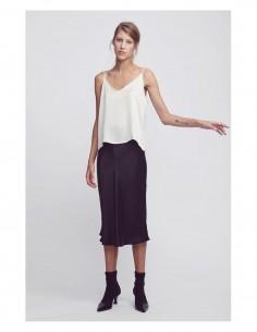 SILK LAUNDRY brown long flowing skirt in silk