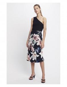 SILK LAUNDRY lilies flowers print long flowing skirt in silk