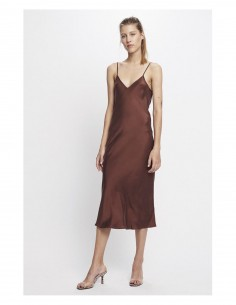 SILK LAUNDRY '90s Slip Dress' brown long dress with thin straps