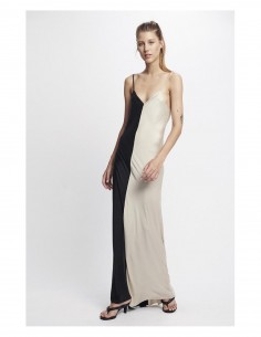 SILK LAUNDRY 'Two-tone' bicolor long dress with thin straps in silk