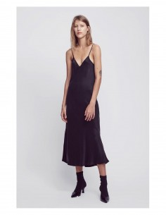 SILK LAUNDRY '90s Slip Dress' black long dress with thin straps