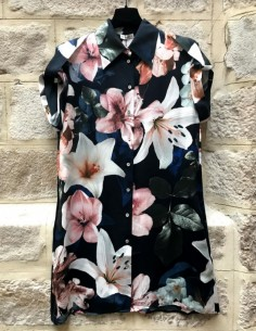 SILK LAUNDRY 'Drop Shoulders' shirt dress lily flowers print in silk