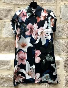 Robe chemise 'Drop Shoulders' imprimé fleurs de lys SILK LAUNDRY en soie
