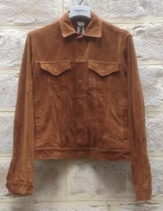 Blouson coupe chemise en cuir marron GIORGIO BRATO