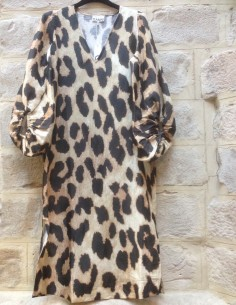 GANNI V-neck leopard dress puff sleeves
