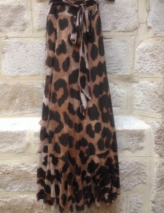GANNI ruffled leopard skirt