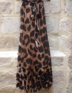 GANNI jupe léopard volantée