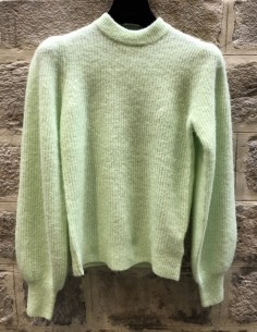 GANNI green puffed sleeves sweater in alpaca
