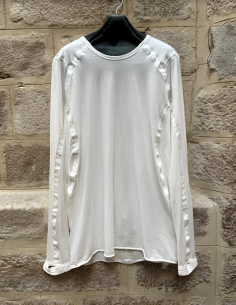 ISAAC SELLAM long-sleeved white tee with 3D stitching