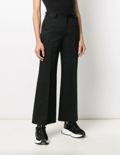 MAISON MARGIELA black wide leg pants with fake pleats