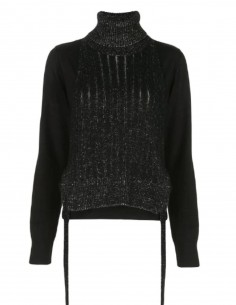 MM6 Bi-material high neck sweater to tie