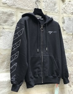 OFF-WHITE black zipped hoodie with puzzle print