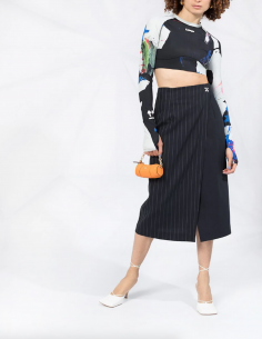 OFF-WHITE asymmetrical skirt with tennis stripes