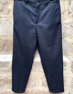 OAMC navy straight cropped pants with ankle zips
