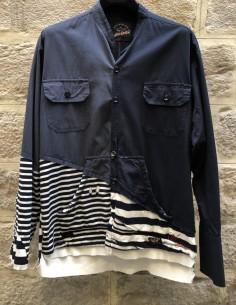 Veste col mao bleu bi-matière avec empiècement marinière PAUL & SHARK x GREG LAUREN