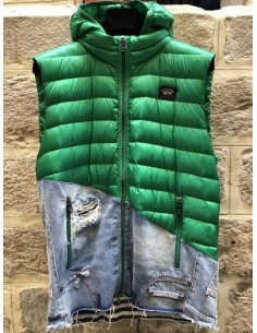 PAUL & SHARK x GREG LAUREN bi-material green sleeveless down-jacket