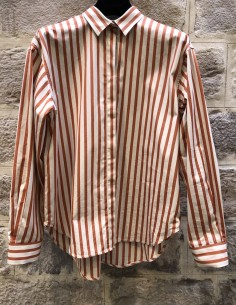 TOTEME Lago orange striped oversized shirt
