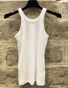 TOTEME 'Espera' white ribbed tank top in organic cotton